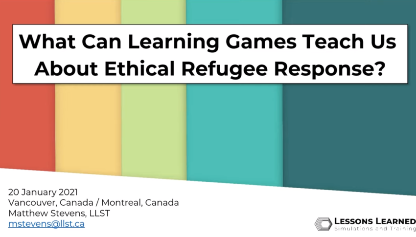 Learning Games and Ethical Refugee Response